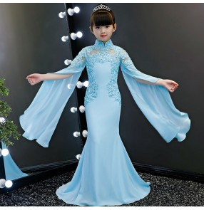 Girls evening dresses blue color lace long sleeves princess fairy cosplay host singers model show stage performance mermaid dresses